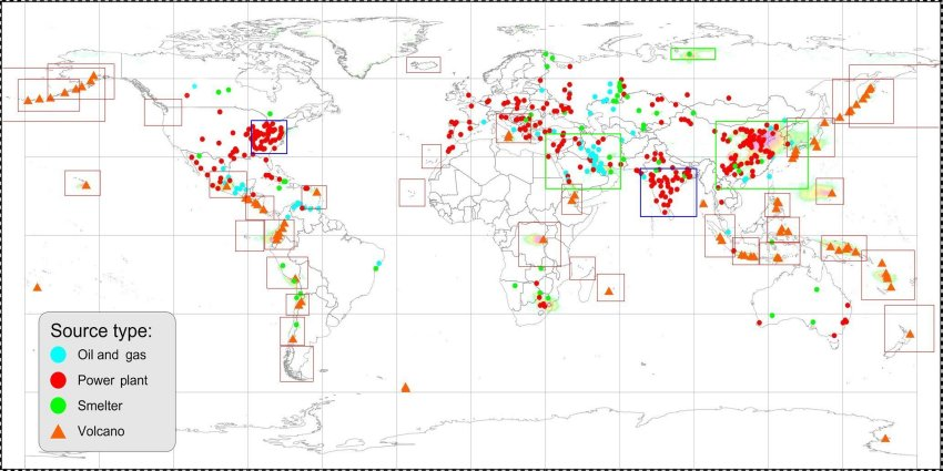 Clickable map of the world for sulfur dioxide concentrations